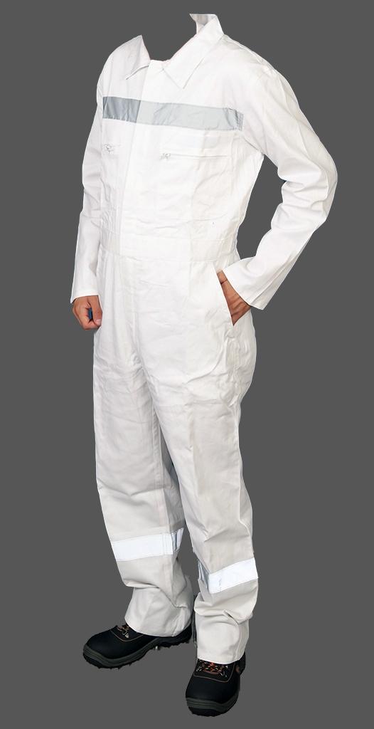 Φόρμα εργασίας ολόσωμη 220g DELTA SAFETY, 100% βαμβακερή με ανακλαστική ταινία 5 cm σε στήθος, πλάτη και μπατζάκια. Διαθέτει 5 τσέπες, κουμπί στον λαιμό, λάστιχο στη μέση και βέλκρο στο στήθος.